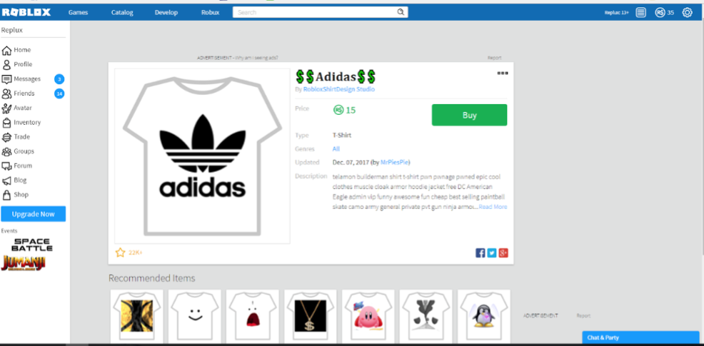 sell shirts on Roblx